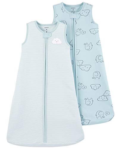 Carter's Baby 2-Pack Cotton Sleepbags (Blue Clouds, Small)