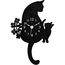 Ohnishi Ken Manufacturing Abeille Cat Wall Clock Pendulum clock Black G-1143BK
