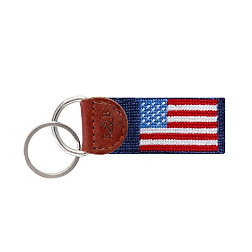 (Smathers & Branson Men's Needlepoint Key Fob American Flag/Classic)