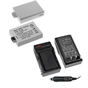 Lithium-Ion Battery + Battery Charger with Car Adapter for Canon Digital SLR EOS Rebel XS / EOS Rebel T1i / EOS Rebel XSi