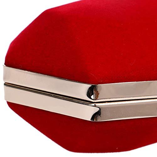 Mujeres Hombro Tamaño Crossbody Las 1x2 Bolsos Color 4x4 Seda Señora Azul Metal Compras 8 Velvet 1inch Embrague Bolso Tarde Red Bolsas La Boda De Cadena XCXpIq