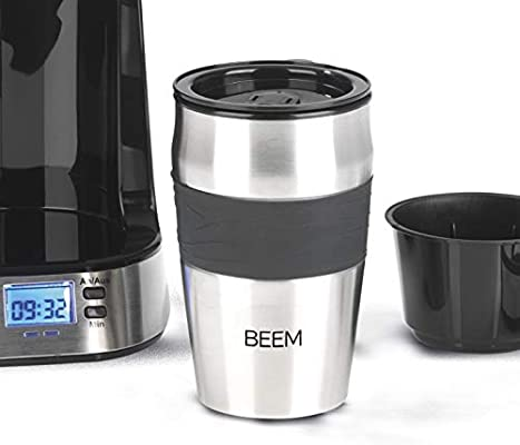 BEEM - Taza con tapa para cafetera individual (750 W, acero ...