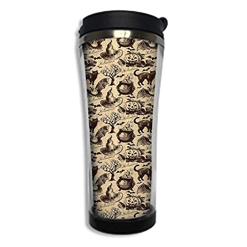 Stainless Steel Insulated Coffee Travel Mug,Spill Proof Flip Lid Insulated Coffee cup Keeps Hot or Cold 14.2oz(420 ml)Customizable printing byVintage Halloween,Symbols of Halloween Witch Hat -