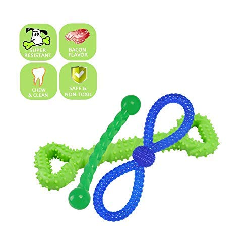 Combination C Dog Chew Toys ,Teething Chew Puzzle Training Massage Grinding Rubber Chew Toy Bone Teeth Cleaning Treat Tooth Gums, for Various Types Dogs