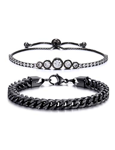 BOMAIL 2 PCS 6MM Stainless Steel Chain Link and Adjustable Cubic Zirconia Tennis Bracelet for Men Women