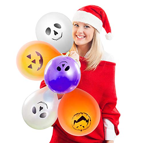 Christmas LED Balloons - 30pcs Light Up Balloons with 4 fantastic Patterns White Orange Purple Colour Latex Balloon Glows Up to 12 Hours Party Home Garden Lantern Christmas Decors ()
