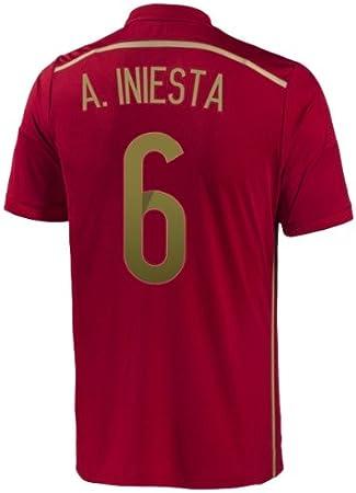adidas A. Iniesta #6 España Camiseta 1ra Copa Mundial 2014 (S): Amazon.es: Deportes y aire libre