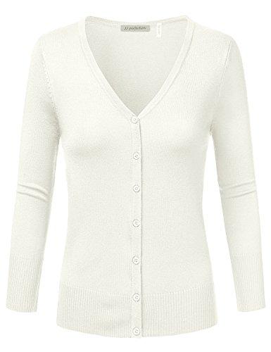 JJ Perfection Women's 3/4 Sleeve V-Neck Button Down Knit Cardigan Sweater Ivory M (Knit V-neck Sweater)