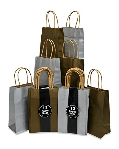 (Christmas Gift Bags with Handles, Metallic Gold ans Silver, Bulk, Petite Size 5.25