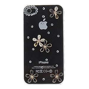 CL - Rhinestone tachonada Flores Patrón transparente caja de la PC dura para el iPhone 4/4S