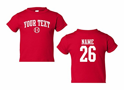 Toddler Custom Personalized T-Shirt, Baseball Arched Text, Back Name & Number Red