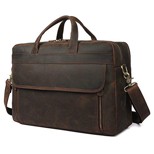 - Polare Retro Full Grain Leather Mens Business Briefcase Laptop Bag HandBag