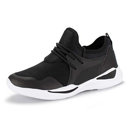 Hawkwell Kid Sneakers Breathable Lightweight Running Shoes,Black Fabric, 4 M US Big Kid ()