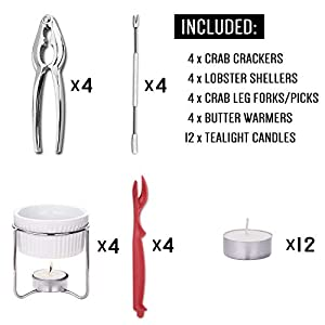 Hiware 28-Piece Seafood Tools Set – Crab Lobster Crackers and Picks Tools Service for 4, Includes Crab Leg Crackers, Butter Warmers, Lobster Shellers, Crab Forks and Tealight Candles