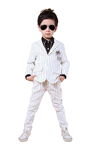 YUFAN Boys Pinstripe Suits Separated Blazer & Pants 2 Pieces Black & White 2 Colors (5, White)