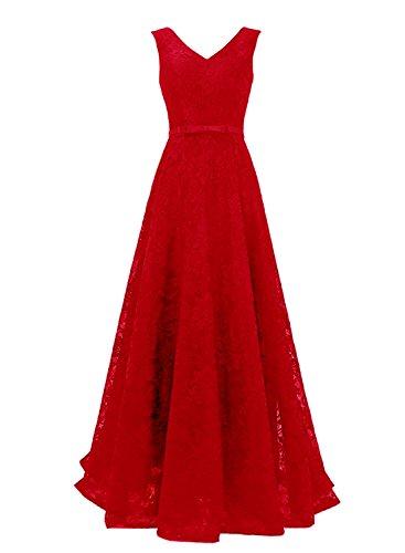 Spitze LuckyShe Hochzeit Ausschnitt Lang Linie Ballkleid Rot Abiballkleider 2018 V Damen für Elegant A frrntwA