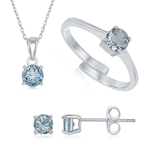 Beaux Bijoux Sterling Silver Blue Topaz 'March' Genuine Birthstone Pendant Necklace, Earrings and Ring Set