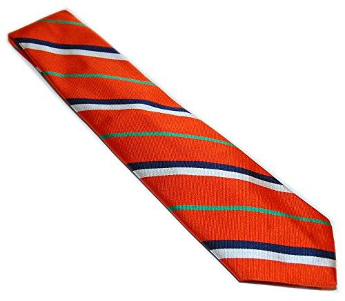 Collegiate Tie (Polo Ralph Lauren Mens Silk Preppy Collegiate Tie Italy Orange Navy White Stripe)