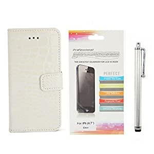 """Apexel 4.7"""" iPhone 6 Case- Croco Pattern PU Leather Flip Stand Cover Case with Card Slots for iPhone 6 White + Touch Pen+ HD Screen Protector"""