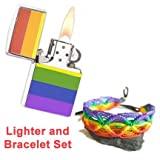 LGBT Gay and Lesbian Pride Rainbow Lighter w/ Rope Bracelet SET - (Fluid Sold Separately)(Rainbow Lighter & Stud Earrings). LGBT Pride (Rainbow Lighter & Bracelet)
