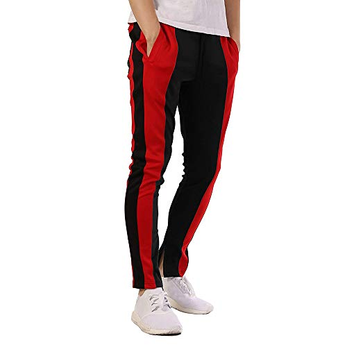 Seaintheson Mens Stripe Track Pants Skinny Fit Stretch Trouser Elastic Jogger Casual Loose Drawstring Sweatpants Black