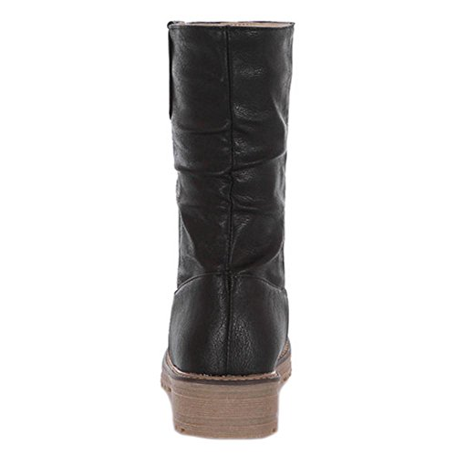 Pull Black Women's TAOFFEN Boots Flat On qx4UqXYt