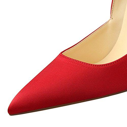 di alti i punta europeo raso e a YMFIE stile sexy eleganti unico scarpe con gules In tacchi scarpe scarpe 8HxqaOwvx