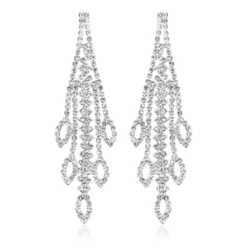 RIAH FASHION Sparkly Geometric Rhinestone Chandelier Hoop Statement Earrings - Cubic Zirconia Crystal Bridal Duster Dangles Fringe Tassel/Waterfall Drape/Circle Ring (Marquise Cascade - Silver)