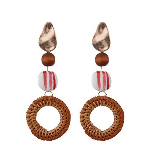 - Psunrise Pendientes Bohemian Retro Handwoven Rattan Inlaid Wood Round Earrings Ladies Jewelry(10.3×6.4cm, Red)