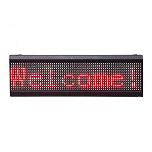 - High Resolution Programmable P10 LED Scrolling Moving Message Display Sign Board Panel for Advertising Business Shop Store Window Wall Decor 26 x 6 inches (Red)