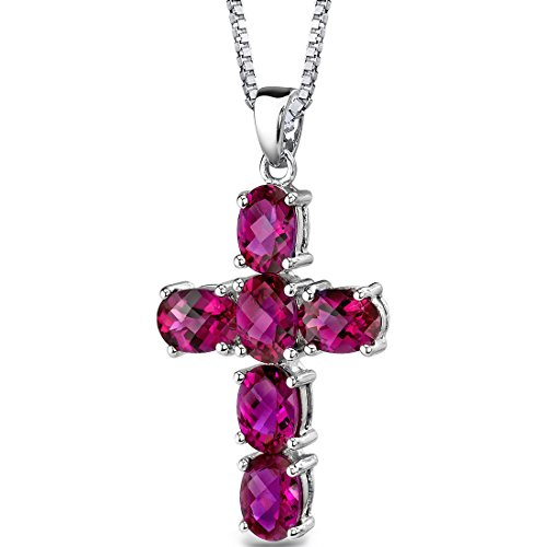 Created Ruby Cross Pendant Necklace Sterling Silver 6.00 Carats