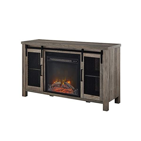 "Walker Edison Tall Farmhouse Metal Mesh Barndoor and Wood Universal Fireplace Stand or TV's up to 55"" Flat Screen Living Room Storage Entertainment Center, 48 Inch, Grey Wash"