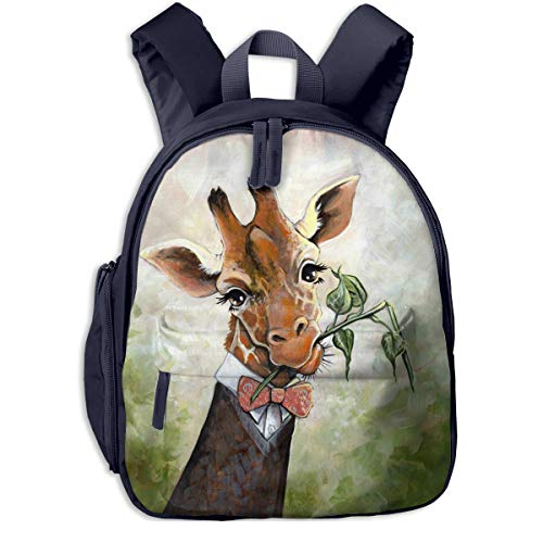 Judascepeda Girls Women Schoolbag Bow Tie Giraffe Print Classic Children Schoolbag Backpacks Navy With Front Pockets For Youth Boy Girl