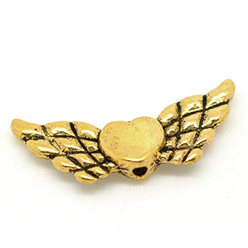 (Yc 50pcs Antique Gold Heart with Wing Spacer Beads 22x9mm Loose Metal Beads Craft DIY Jewelry Making Findings Charms Pendants)