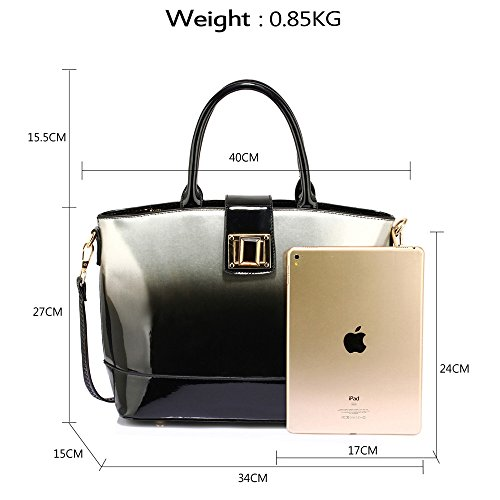 Designer Women New Leather 1 Shoulder Fashion Handbag Tote Silver Design Bag Patent Ladies Large q6wYBB