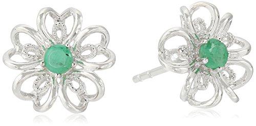 Earrings Silver Genuine Emerald (Sterling Silver Genuine Emerald Stud Earrings)