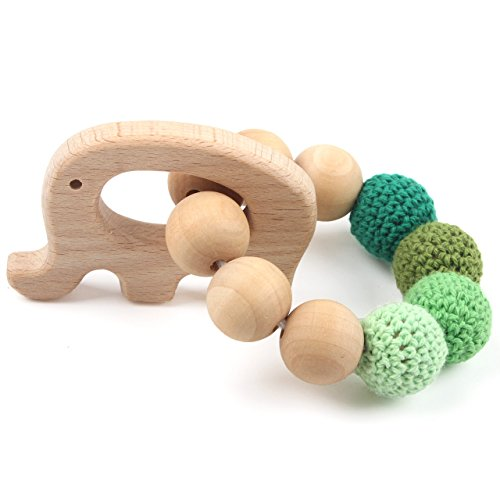 (Teether Elephant Bracelet for Baby Jewelry Teething Ring Wooden Natural Eco-Friendly Holder Montessori Toy, Blue, for 3 Month Year Old)