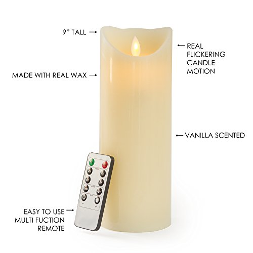 Gideon 9 Inch Flameless LED Candle - Real Wax & Real Flickering Candle Motion - with Multi-Function Remote (On/Off, Timer, Dimmer) - Vanilla Scented, Ivory by Gideon (Image #2)