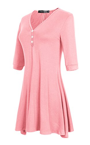 GoCo Ourlet Tunique Demi Shirt Manche Robe Top Femmes Rose vase Chemisier Urban T Robe Base d8wqdCxf