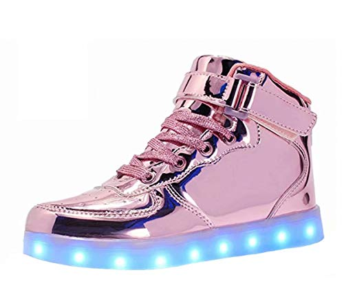 LED Light Up Shoes USB Flashing Sneakers For Toddler/Kids Boots-31(Shining Pink