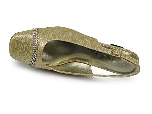 Enzo Romeo Antica02 Femmes Largeur Largeur Fronde Retour Talon Bas Pompes Sandales Chaussures Or