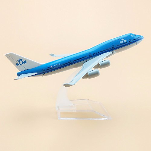 ZAMTAC 16cm Alloy Metal Air KLM Airlines B747 Aircraft Airplane Model Boeing 747 400 Airways Plane Model w Stand Crafts Gift