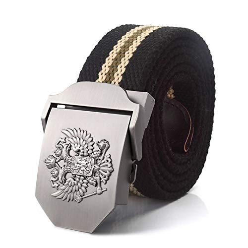 JUIHUGN Canvas Belt Russian National Emblem Alloy Buckle Military Men Belt Army Tactical Belts for Men Best Male Strap Black Strips 100cm