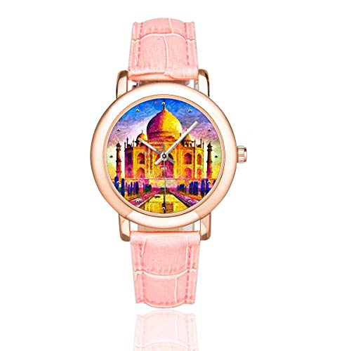 - InterestPrint Funny Agra Taj Mahal Colorful Architecture Women's Rose Gold-plated Leather Strap Watches Wrist Watch