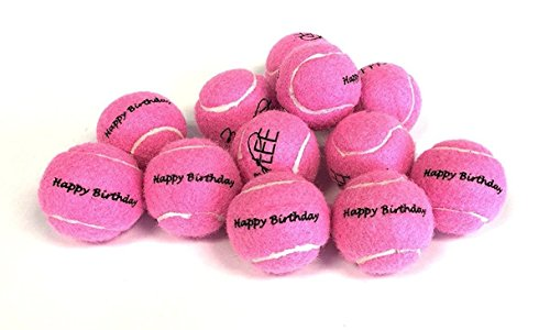 (Midlee Happy Birthday Dog Tennis Balls (12 Pack) (Small, Pink))