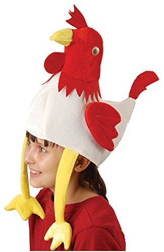 Deluxe Stuffed Plush Chicken Rooster Hat Costume Party Cap (1-Pack) (Adult Rooster Costume)