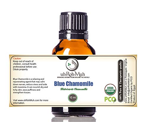 Certified Organic Blue Chamomile Essential Oil || USDA Certified Organic German Chamomile Essential Oil || Blue Chamomile Essential Oil Organic || Blue German Chamomile Essential Oil Organic (10 ml) by uh*Roh*Muh