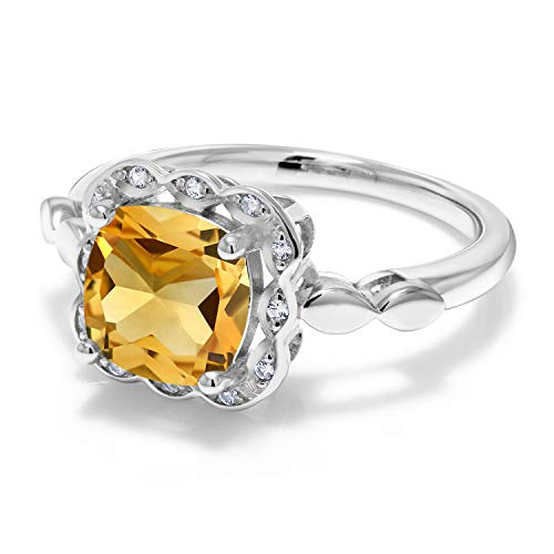 Gem Stone King Yellow Citrine and White Created Sapphire 925 Sterling Silver Women s Ring 3.10 Ct Cushion Cut, Available in size 5, 6, 7, 8, 9
