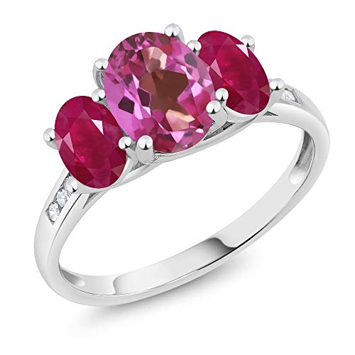 Gem Stone King 10K White Gold Diamond Accent Oval Pink Mystic Topaz Red Ruby 3-Stone Ring 2.50 Ct (Size 8)