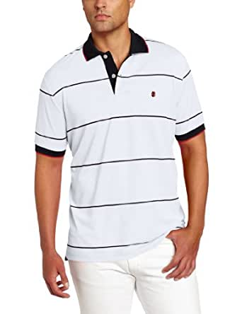 IZOD Men's Short Sleeve Stripe Pique Polo, Bright White, Small